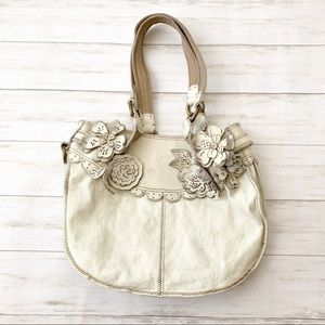Lucky Brand White Leather Flower Appliqué Hobo Bag